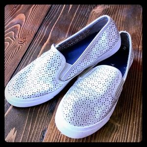 Silver Sperry Slip Ons